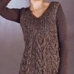 saç örgü desenli örgü tunik modeli