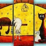 sevimli kedi figürlü kanvaz tablo örneği modeli