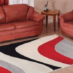 shaggy kırmızı gri siyah renkli sanat halı modeli