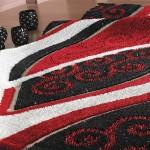 simli vega kırmızı siyah renkli sanat halı modeli