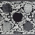 simli yaprak desenli sanat halı modeli