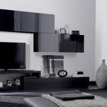 siyah duvar tv lcd sehpa ünite modeli