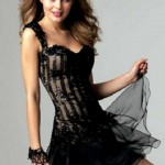 siyah renkli trend populer mini abiye modeli