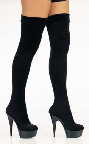 Siyah süvet diz üstü platform tabanlı çizme modeli