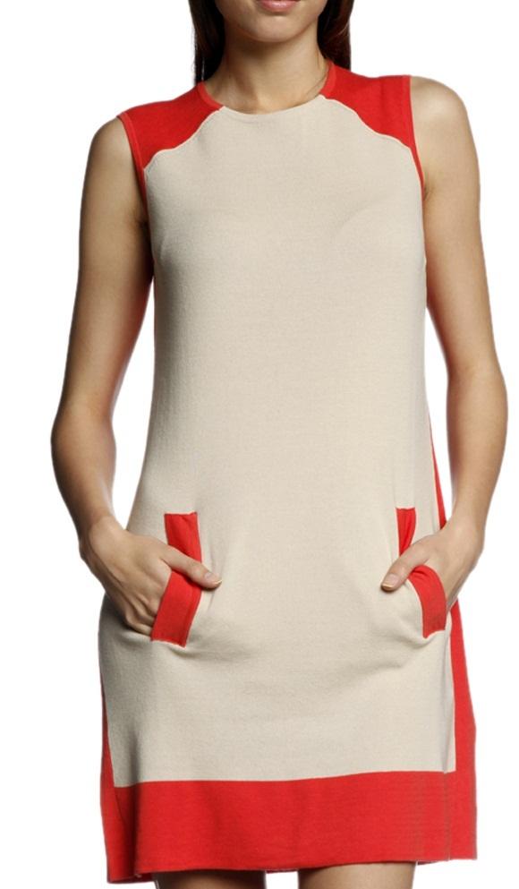 turuncu omuz ceplik bej gövdeli Stefanel yazlık elbise modeli