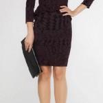 güpür şifon kumaşlı siyah renkli dar balık etekli diz üstü hizasında uzun kollu adil ışık abiye elbise modeli.