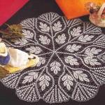 yaprak desenli el yapımı dantel sehpa takımı modeli