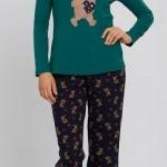 yeşil renkli ayı baskılı lc waikiki bayan pijama takımı modeli