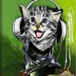 yeşil renkli kulaklıklı kedi baskılı şık kanvas tablo modeli