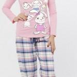 yeni tavşan baskılı kışlık ekoseli lc waikiki bayan pijama takımı modeli