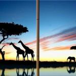 yeni zürafa ağaç şekilli kanvas tablo modeli