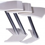 zarif beyaz krom ayaklı zigon sehpa modeli
