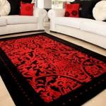 zarif kırmızı siyah renkli sanat halı modeli